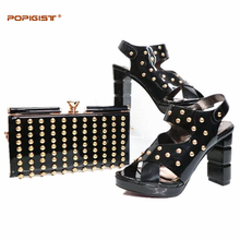 Black Women Shoes and Bag Set In Italy Sales Women Matching Shoes and Bag Set Decorated with Rivet Nigerian Shoes and Bag Sets(China)