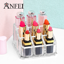 New Acrylic 9 Grids Lipstick Holder Makeup Brush Box Cosmetic Case Jewelry Organizer Makeup Case Decoration Display Stock(China)