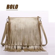 New Fashion Comfortable PU Golden Tassel Women Fringe Bag Women Messenger Bags Upscale Lining Shoulder Bags