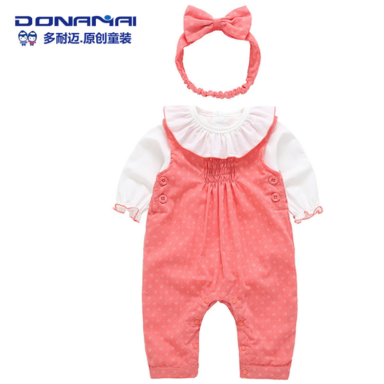 Female baby suit autumn 2017 new 3 sets of baby climbing long-sleeved open file dark buckle cotton piece 0-2 years old<br>