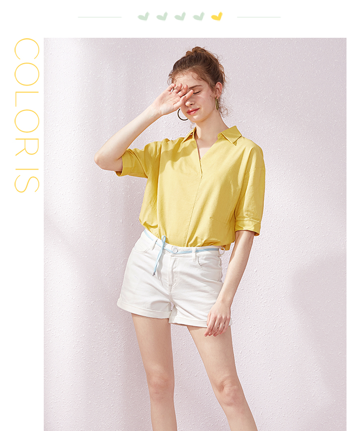 SEMIR Short sleeve white shirt women summer 19 new lapel V-neck shirt simple solid color students fresh relaxed blouse 9