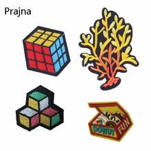 Prajna Magic Rubik Cube Patches Clothing Iron Logo Hot Patches Colorful Patch Sew On Coral Costume Embroidered Emblem Badge D(China)
