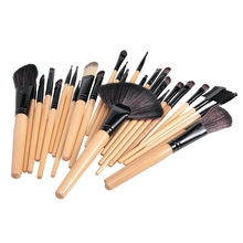 32Pcs Facial Make Up Brushes Cosmetic Makeup Brushes Set Cosmetic Brush Kit Maquiagem Goat Hair Brush with Leather Cosmetic Bag