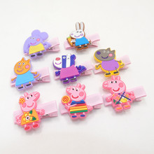 24pcs/lot Cartoon Plastic Animal Hair Clip Cute Pig Girl Elephant Barrette Rabbit Zebra Soft Resin Kid Hairpin Hot Sale Designs