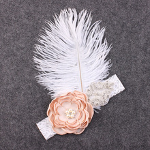 Hot style feather flowers white feather headdress rhinestone headbands children accessories fashion elastic Turban headband(China)