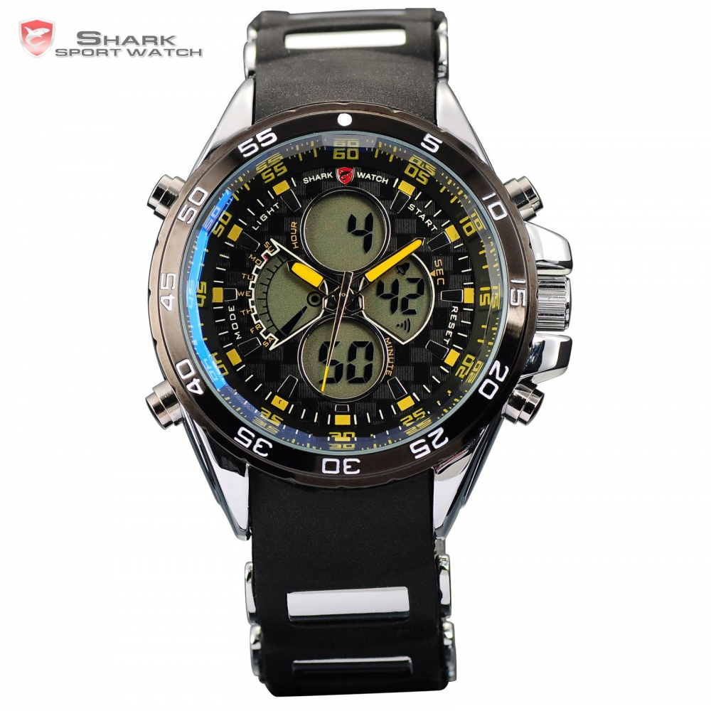 Leopard SHARK Sport Watch LCD Dual Time Date Day Alarm Stopwatch Silicone Band Yellow Men Male Wrap Tag Quartz Wristwatch /SH057<br>