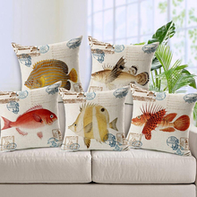 Blue Ocean Fish Printed Cushion Cover Marine Life Throw Pillow Case Linen Cotton 45X45cm 30*50 Rectangle Living Room Decor Gift(China)
