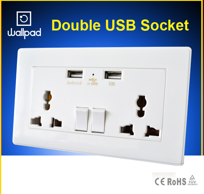 Wallpad 110-250V 5V 1A Double USB Ports Wall Socket, 146*86 Universal Wall Socket Wall USB Charger any country, Free Shipping<br><br>Aliexpress