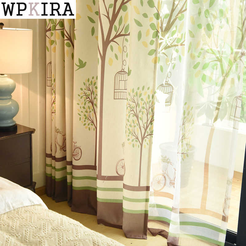 Rustic Faux Linen Nature Green Tree Pattern Tulle Curtain Window Treatment Drapes Blackout Curtains for Marriage Bedroom 252&30