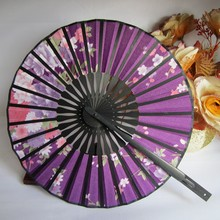 Cute Flower Fabric Bamboo Fans Round Hand Held Fans Holiday Wedding Shower Favor