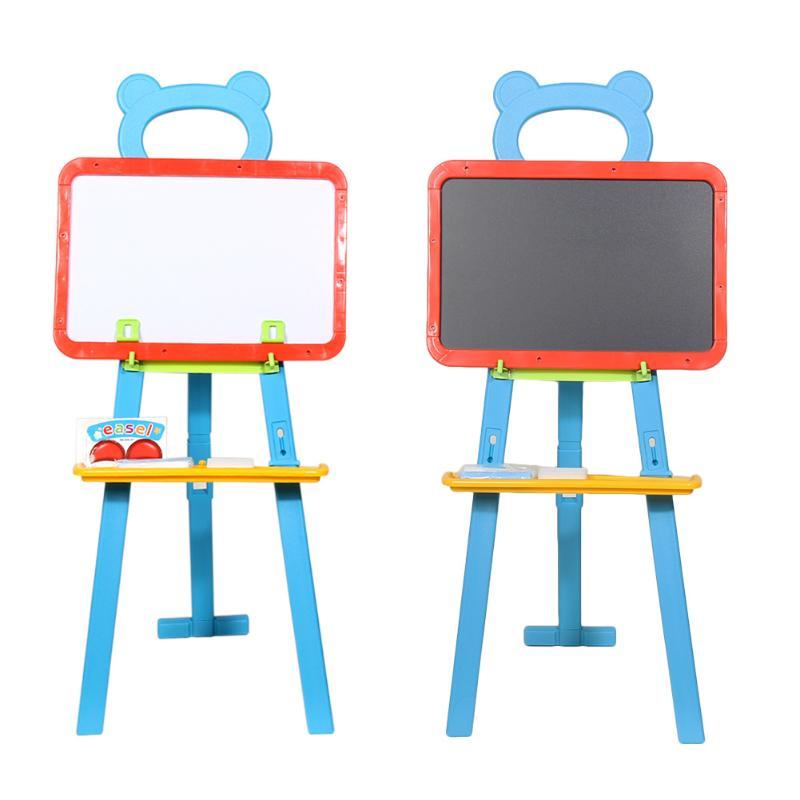 3in1 Children Kids Learning Easel Stand Magnetic White Black Board Chalkboard Blackboard Whiteboard with Alphabet Number Chalk<br>