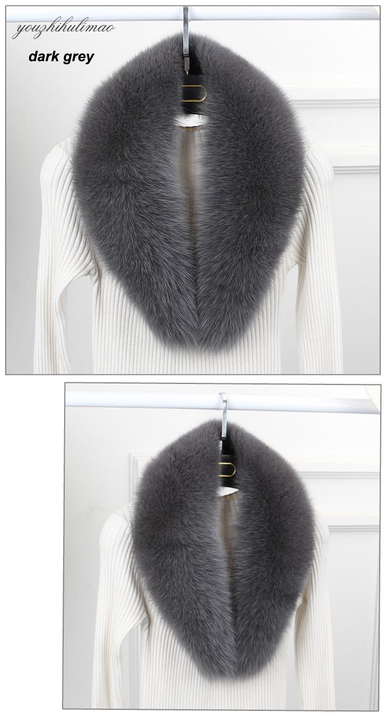 fox fur collar dark grey