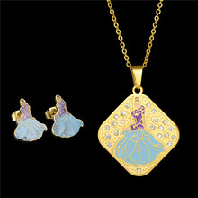 2017 New Fashion Stainless Steel Jewelry Sets Beauty  Princess Pendant necklace Earrings Chain Set For Kids Birthday Gift