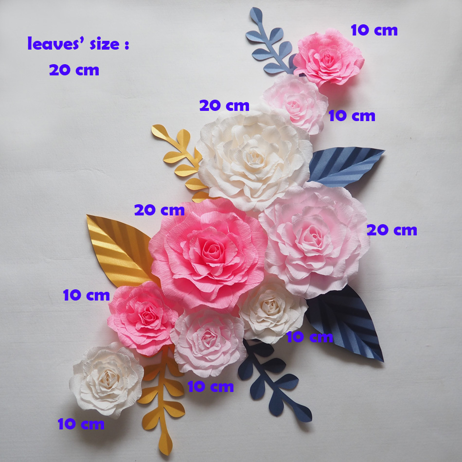 Giant Paper Flowers Backdrop Artificial Handmade Crepe Paper Rose ...