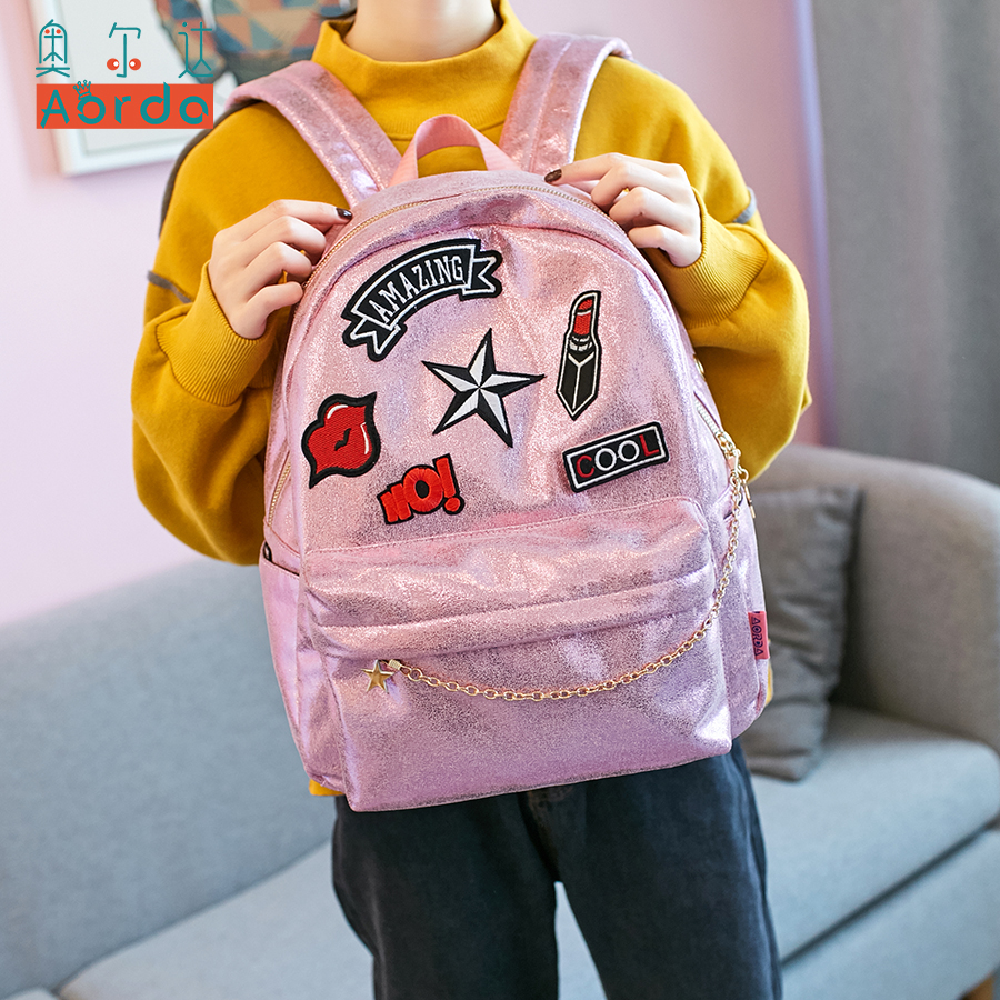 AORDA Pink Backpack For Teenage Girls Reflection Colors Blue Rucksacks for women large capacity School Bags travel Shoulder Bag<br>