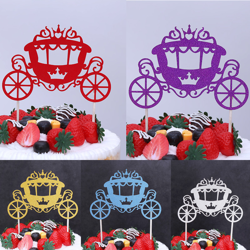 Glitter Cake Topper Pumpkin Car Cake Cupcake Topper Wedding Cake Insert Flags For Kids Birthday Party Cake Toppers Decor 9 style