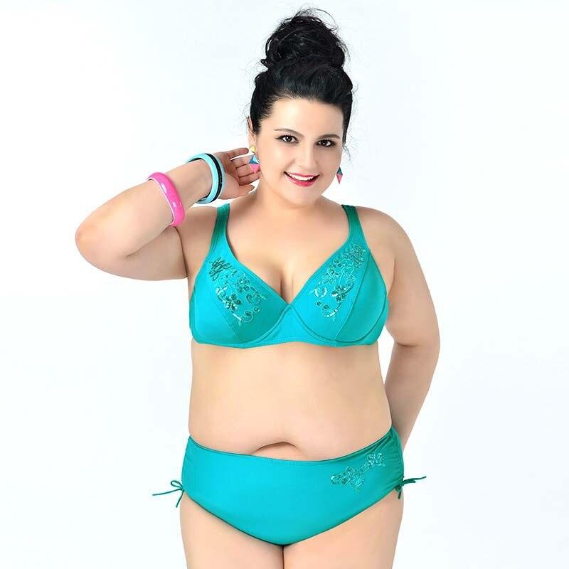 bikini 2017 women plus size swimwear push up bikini set women plus size swimsuit lady bathing suit sexy fat beach wear<br><br>Aliexpress