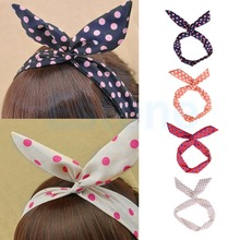 Lovely Dot Rabbit Bunny Ear Ribbon Metal Wire Headband Scarf Hair Bow Head Band