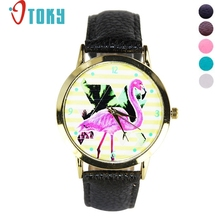 OTOKY Willby Crane Birds Pattern Watch Striped Faux Leather Quartz Wrist Watch 170106 Drop Shipping(China)