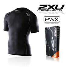 2017 New 2 XU Brand men's athletic Compression Tights fitness in short sleeved shirts movement Lycra fabric T-shirts