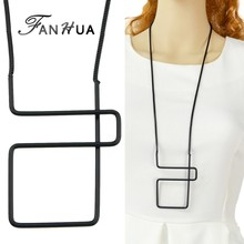 FANHUA New Black Chain Long Necklace Punk Rock Square Geometric Necklace Pendant Necklace For Women Wholesale Jewelry