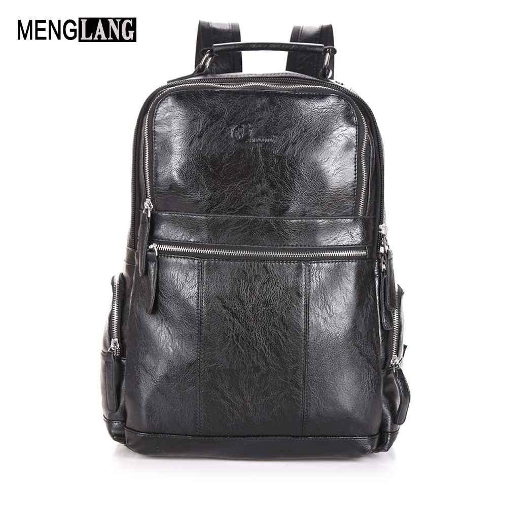 High Quality Mens Backpack Practical Genuine Leather Laptop Backpack Men Famous Brand Casual Men Black School Travel Backpack<br>