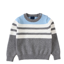 Men 's cotton sweater spring and autumn new children' s wear sweater striped hedge baby sweater(China)