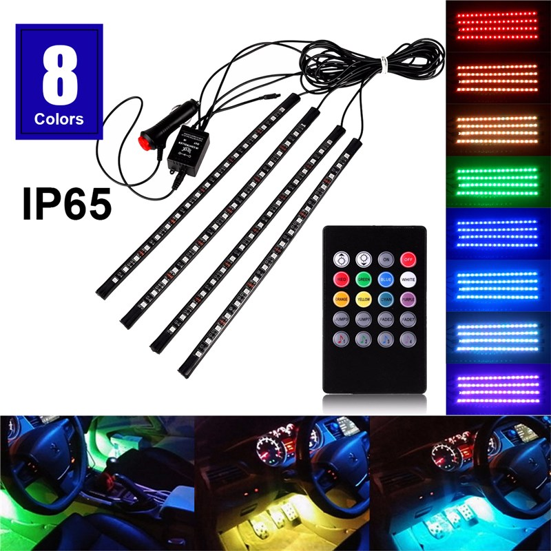 4pcs Car RGB Music Control LED Strip Light 8 Colors Car Styling Decorative Atmosphere Lamps Car Interior Light With Remote<br><br>Aliexpress