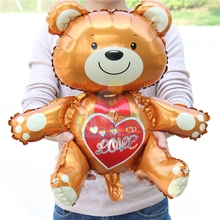"High quality 10pcs lovely bear balloon sit with heart ""love""foil ballon for wedding party decoration balls casamento LLV35"