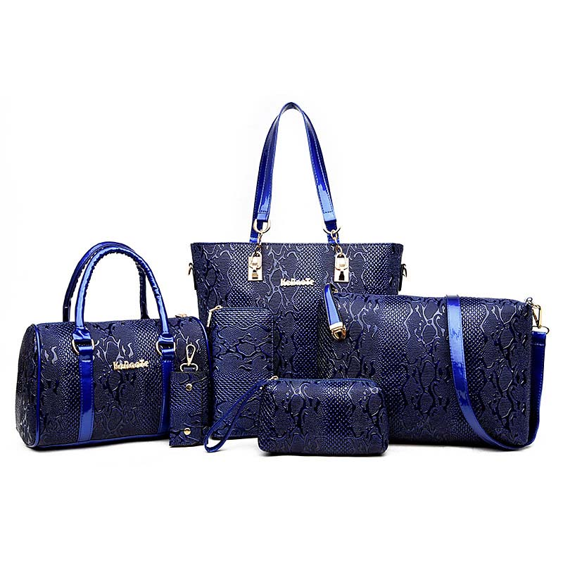 6 sets Luxury Brands Women Tote+Shoulder/Messenger+Clutch Composite Bags High Quality Serpentine Handbag Designer Famous bags<br>