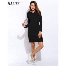 HALIFE Women Long Hoodie Dress Autumn Cotton Long Sleeve Korean Harajuku Sweatshirt Pullover Pencil Sporting Dress Pocket 820