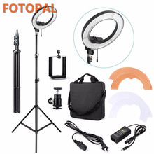 Fotopal China Electronics Market LED Studio Phone Photo Camera Rings Annular Lamp LED Video Light Selfie Light With Tripods Bags(China)