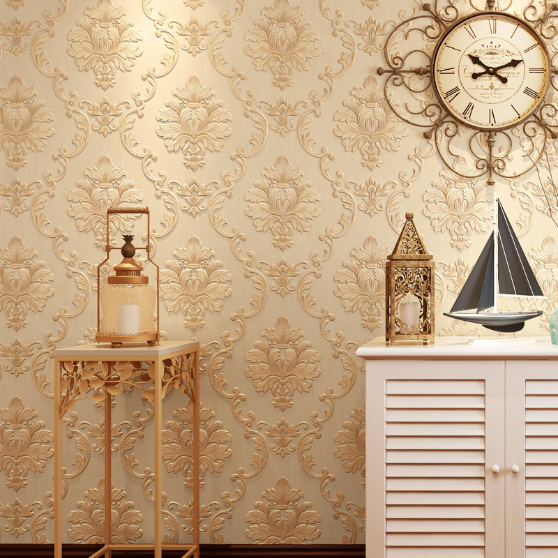 European-style non-woven wallpaper 3D stereo relief fine pressure Damascus living room bedroom TV back wallpaper high-end luxury<br>