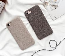 WIXCEN Winter Simple Canvas Plush Case Soft Tpu Silicone Case for Iphone 6 6s 6plus 7 7plus Anti Knock Back Cover Case Fundas