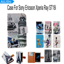 AiLiShi Accessory New Cartoon Flip Protective Back Cover Skin Pouch PU Leather Case For Sony Ericsson Xperia Ray ST18i Case(China)