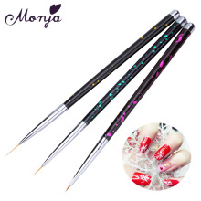 3 Size Polka Dot Metal Handle Nail Art Liner Brush Set French Wide Line Flower Grid Image DIY Drawing Painting Brushes Pen Kit(China)