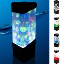 LED Desktop RGB Changing Fish Aquarium Tank Lights Relaxing Bedside Table Motion Night Jellyfish Lamp Holiday Gift