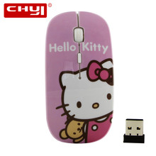 Cartoon Ultra Thin Hello Kitty 2.4GHz Wireless Mouse 1600DPI Optical Gaming Gamer Mouse Mice for Computer PC Gamer