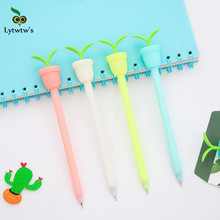 2 Pieces Lytwtw's Korean Stationery Cute Flower Pot Pen Advertising Gel Pen School Fashion Office Kawaii Supply with Fragrance