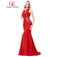 Grace Karin Black Red Sleeveless V Neck Hollowed Back Evening Dress 2017 Sexy Appliques Lace Mermaid Party Gowns Formal Dresses