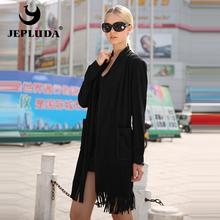 JEPLUDA New Women's Outwear Artificial Suede with Tassels Leather Jacket Women Elegant Women's Dress Women 's Leather Coat