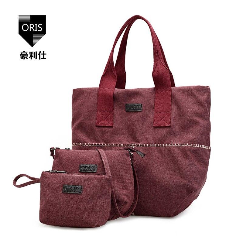 3Pcs/lot ORIS Design Durable Canvas Womens Composite Bags Fashion Casual Tote Portable Female Handbag + Shoulder Bag + Purse Bag<br>
