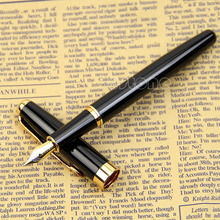 2 colors Exquisite BAOER 388 Stainless Steel Fountain Pens Silver Gold Trim M Nib Size Pen #1(China)