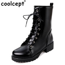 Coolcept Size 33-42 Women Half Shrot Snow Boots Lace Up Thick Fur Shoes Women High Heel Boots Cold Winter Botas Women Footwears(China)