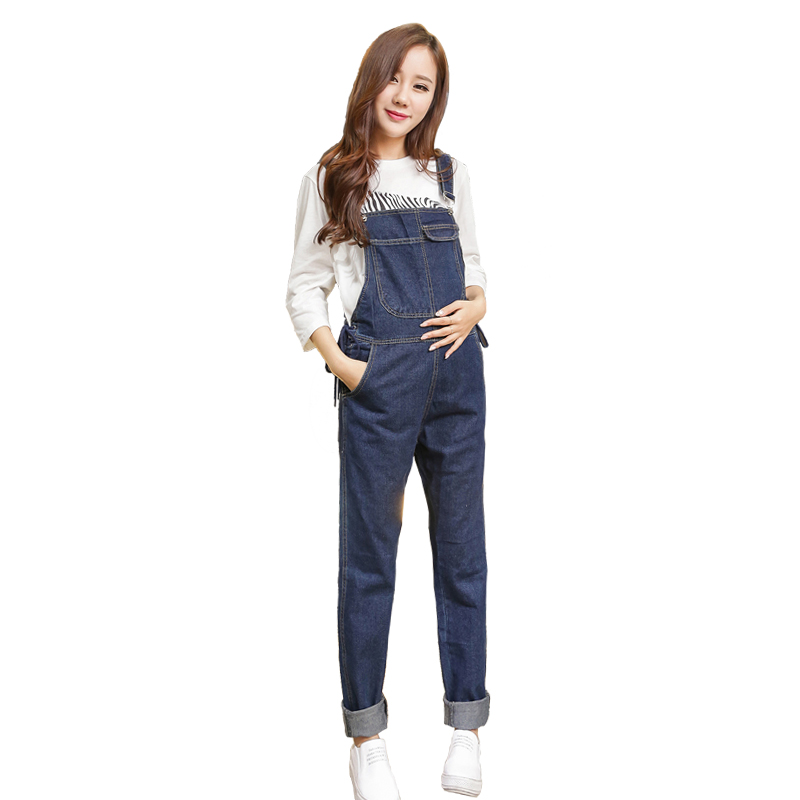 2017 autumn maternity overalls washed cotton loose trousers clothes for pregnant women pregnancy bib pants jumpsuits<br>