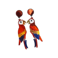New European Fashion Night Club Hip Hop Exaggerated Jewelry Women Animal Color Acrylic Long Parrot Earrings(China)
