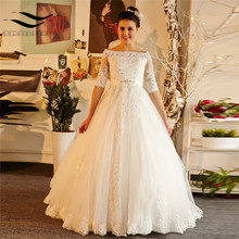 Real Sample Court Train Lace Beading Sashes Half Sleeves Ball Gown Sexy Wedding dresses 2018 New Style Bridal Gown