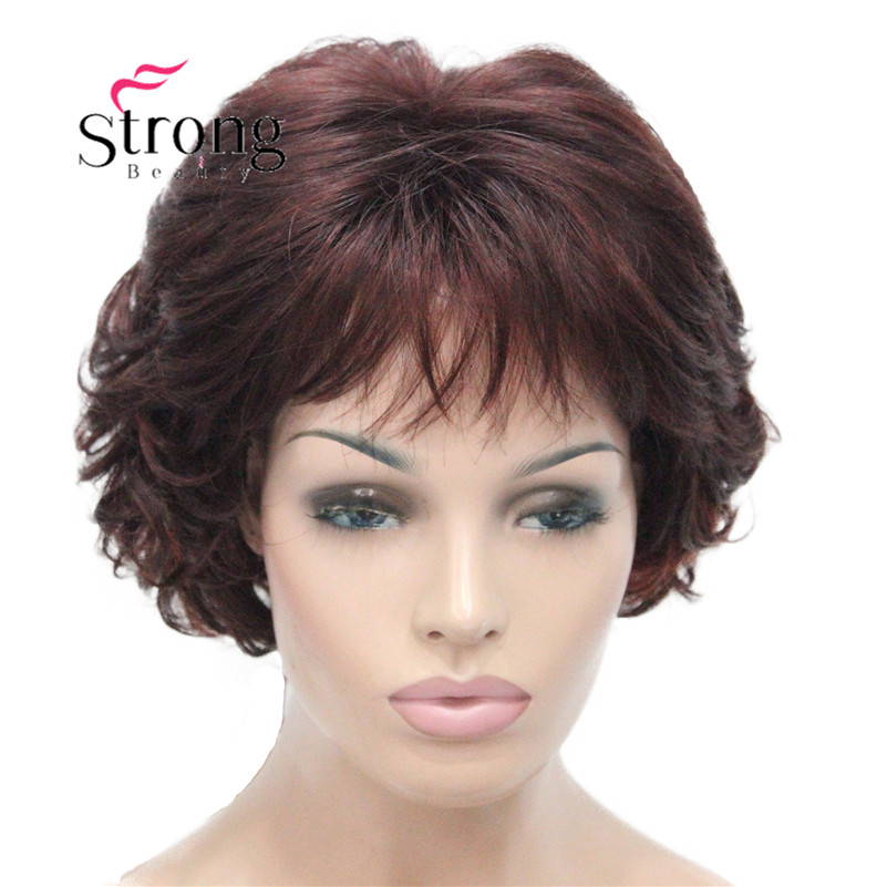 E-7125 #33H350 New Wavy Curly Auburn Mix Red Short Synthetic Hair Full Women's daily Party Wig (9)