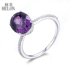 HELON 8X10mm Oval Dark Amethyst Pave 0.15ct Diamonds Wedding For Women's Jewelry Ring Solid 14k White Gold  Halo Engagement Ring