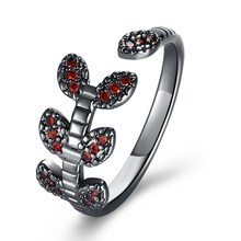 Tree Of Life Red Zircon Ring For Couple Retro Black Gold Filled Women Men Finger Rings For Wedding Party Jewelry Bague Femme(China)